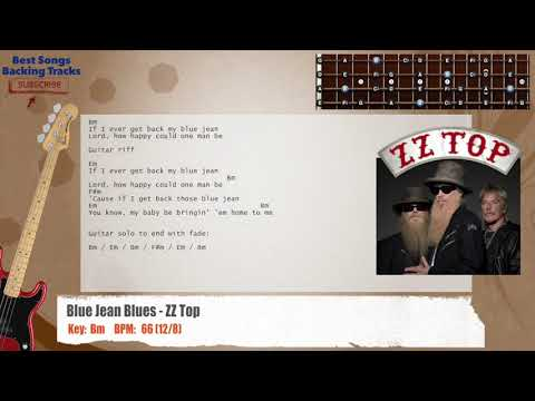 Blue Jean Blues - ZZ Top Bass Backing Track with chords and lyrics