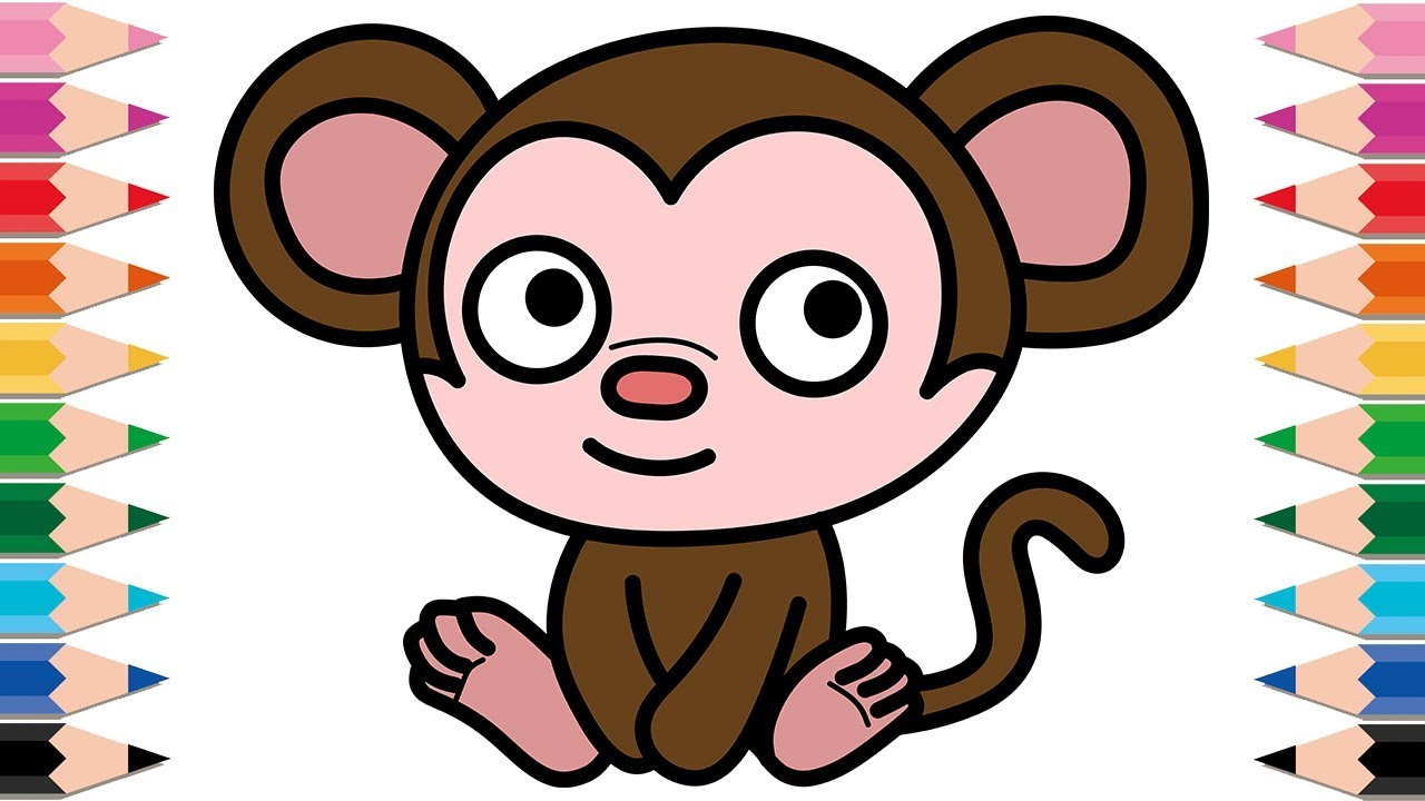 how to draw munki and trunk for kids drawing monkey coloring pages