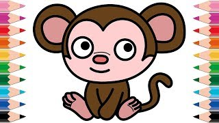 How to Draw Munki and Trunk for Kids Drawing Monkey Coloring Pages for Baby and Children
