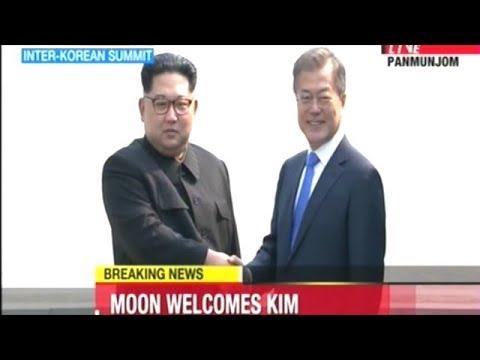 Video Shows Kim Jong Un Cross Demarcation Line Greeted By South Korean President Moon