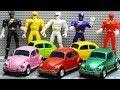 Transformers Stop motion - Bumblebee, Barricade, Power Rangers Movie Repaint Beetle Car Robot Toys