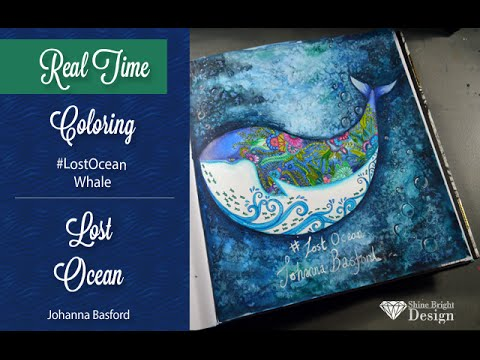 {Tutorial} {Adult Coloring} Johanna Basford: Lost ocean;Whale | watercolor background