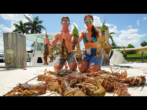 BEST Lobster Catch n Cook EVER!! Crab Stuffed Lobster Tails!