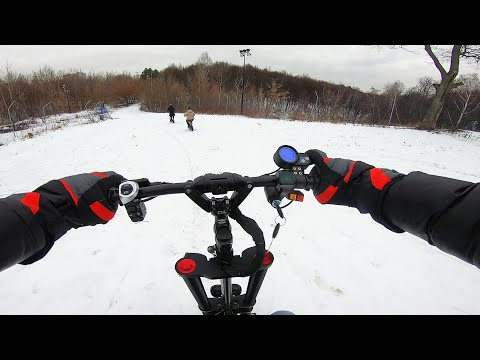ЗИМНИЙ ТЕСТ-ДРАЙВ. Можно ли ездить по снегу? Электросамокат зимой.