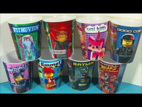 2014 THE LEGO MOVIE SET OF 8 McDONALD'S HAPPY MEAL 3-D LENTICULAR CUPS VIDEO REVIEW