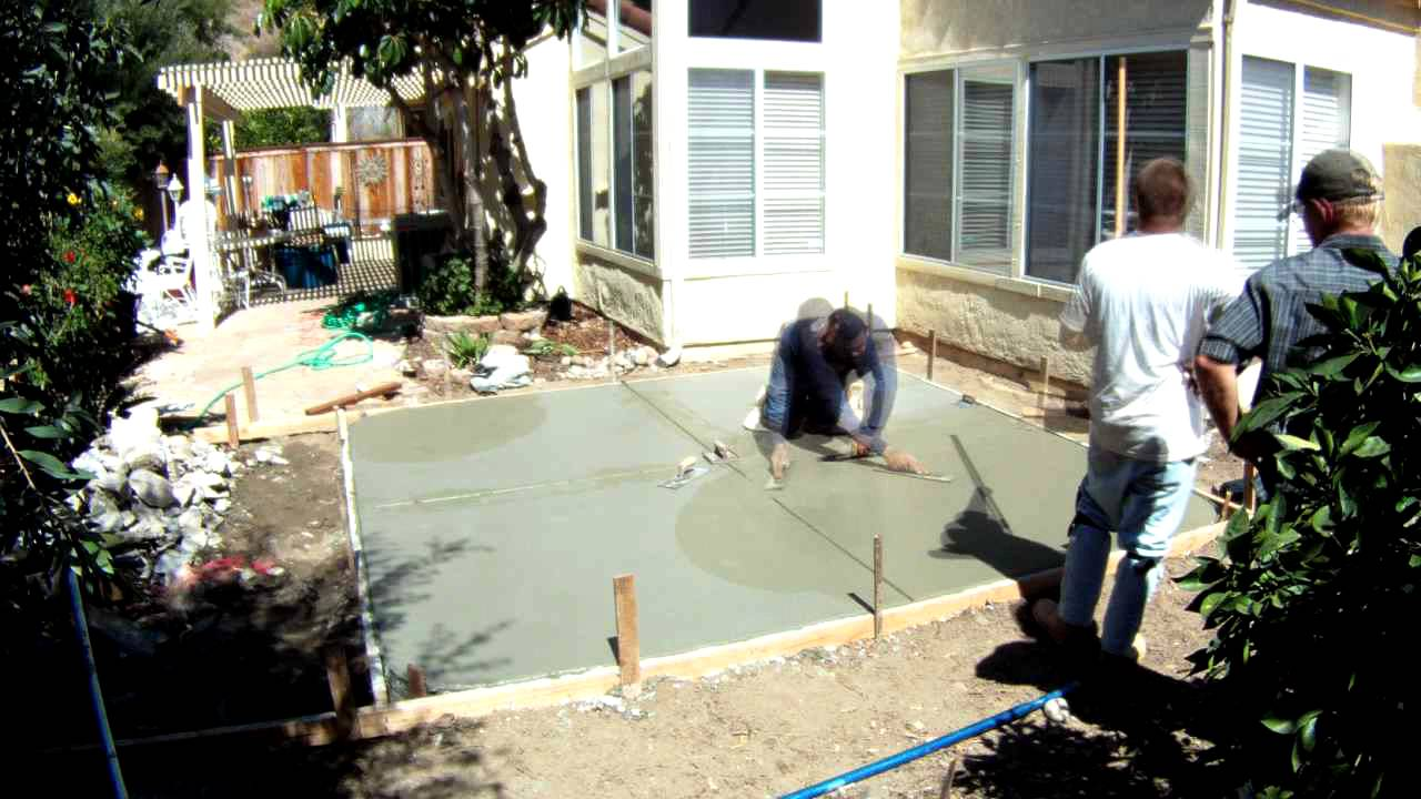 Pouring Cement, Backyard Patio   YouTube