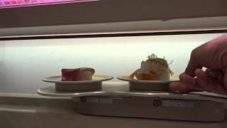 """""""Sushi Express"""" - At """"Genki Sushi"""", Shibuya Tokyo - December 2015. 4K Video Shooting"""