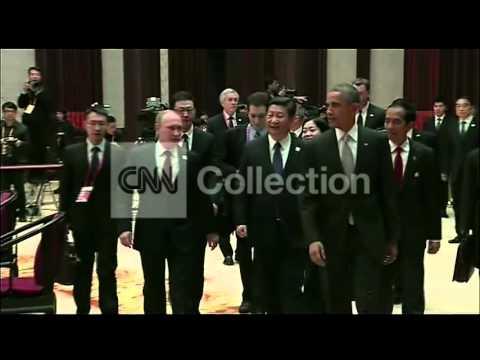 OBAMA ASIA- APEC: OBAMA PUTIN XI JINPING WALKING