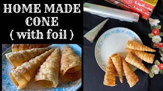 HOME MADE CONE RECIPE | SHAWARMA CONE / CONE CHAT  |  MADE WITH ALUMINIUM FOIL