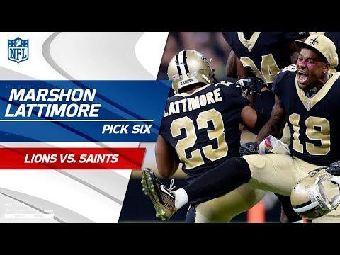Marshon Lattimore's Huge Pick 6 Off Stafford's Tipped Pass! | Lions vs. Saints | NFL Wk 6 Highlights