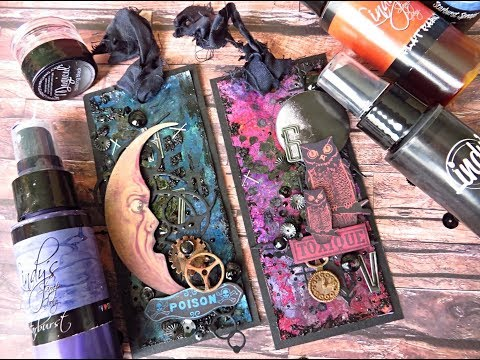Lindy's Gang sprays and powders with photo paper and alcohol -mixed media tags