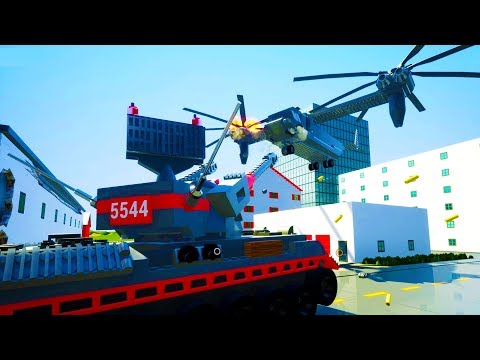 ANTI AIR TANK SHOOTS DOWN GIANT HELICOPTER IN BRICKSVILLE! - Brick Rigs Workshop Creations Gameplay