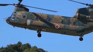 陸上自衛隊のヘリコプターによる防災訓練の様子です。 UH-1多目的ヘリコ...