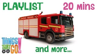 Fire Truck And More | 20min Truck Playlist For Kids. Preschool & Kindergarten Learning.