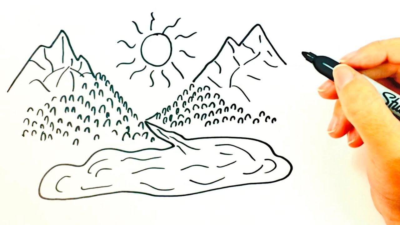 Cómo Dibujar Una Montaña Para Niños