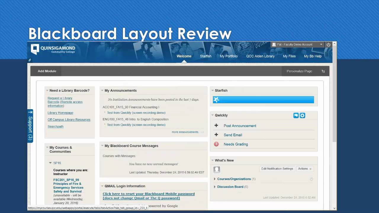 Blackboard layout and SP16 course template - YouTube