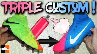 Pink & Blue Hypervenom?! Custom Spray Paint Nike Boots