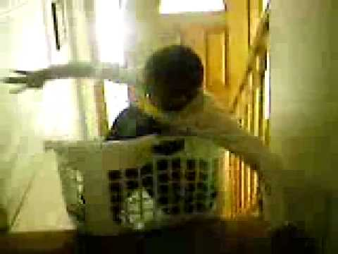 Laundry Basket Down Stairs Fail