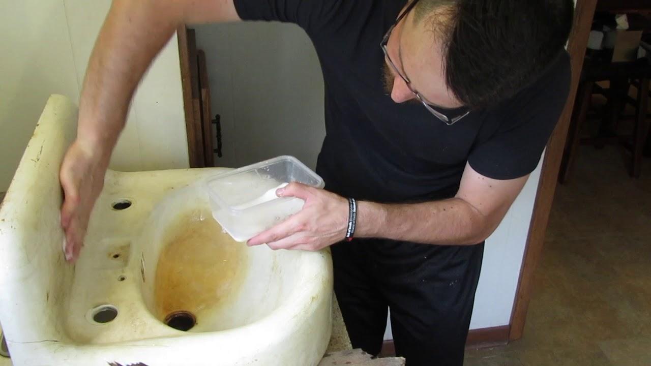 restoring antique 1930 kohler cast iron sink part 1