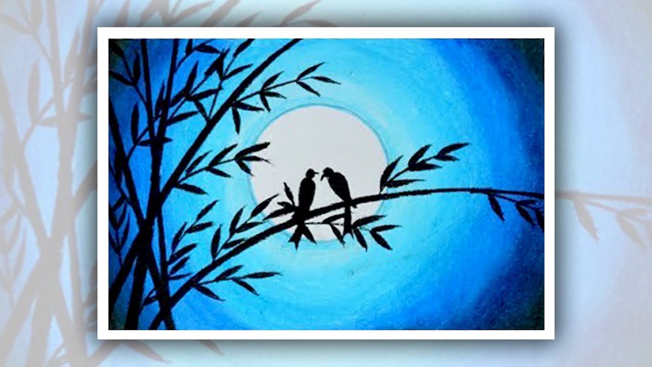 This is a picture of Versatile Birds In The Moon Drawing