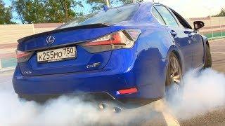 ACTION: LEXUS GS F! 0-260 KM/H, DRIFT, BURNOUT, START UP, ACCELERATION, REVS, 0-100 KM/H, 0-200 KM/H