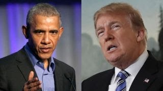 Obama, Trump battle for credit for improving economy