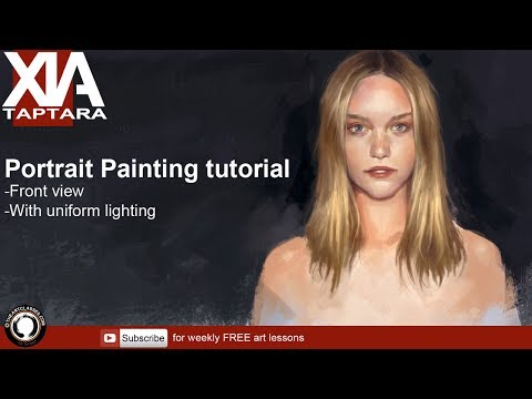 Portrait painting tutorial face front view