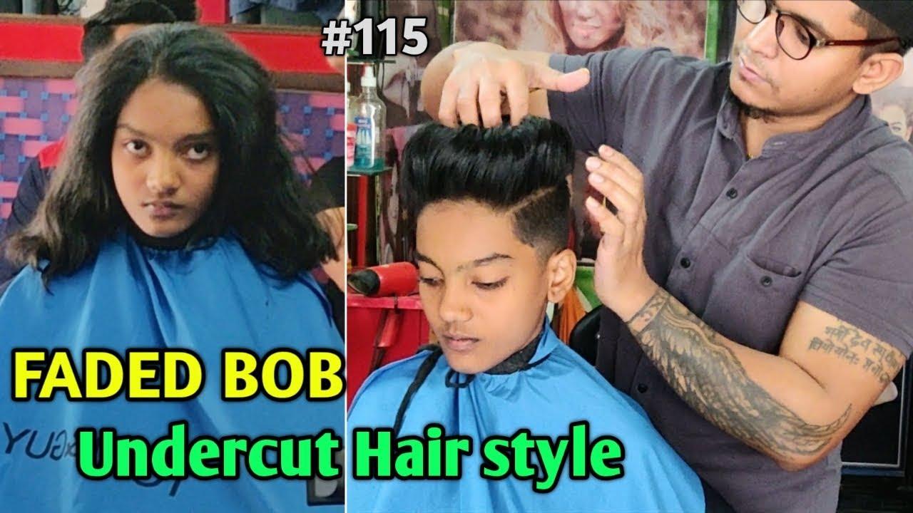 Bob Undercut / Fade Bob Hairstyle / Extreme short Haircut / Long to short  Haircut for women #115