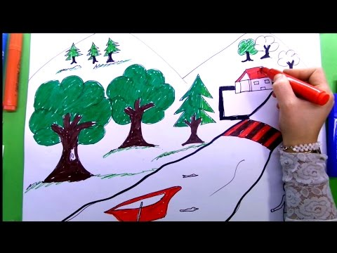 How to Draw Nature Picture | Nature Drawing and Coloring Page
