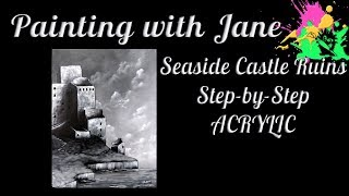 Seaside Ruins Step by Step Acrylic Painting on Canvas for Beginners