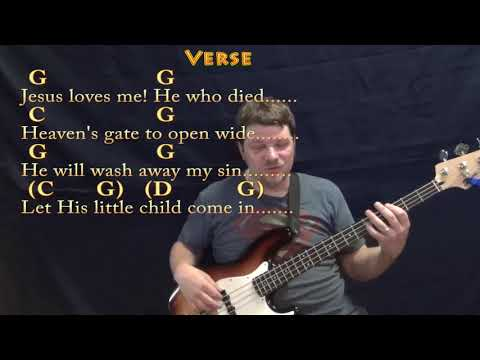 Jesus Loves Me (Hymn) Bass Guitar Cover Lesson in G with Chords ...