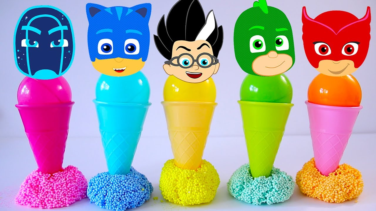 Learn Colors with PJ Masks Ice Cream Cones, Balls and Beads