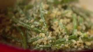 Салат с булгуром, сыром и стручковой фасолью