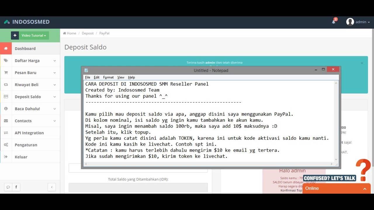 Cara Deposit Saldo Di Indososmed Smm Reseller Panel Youtube