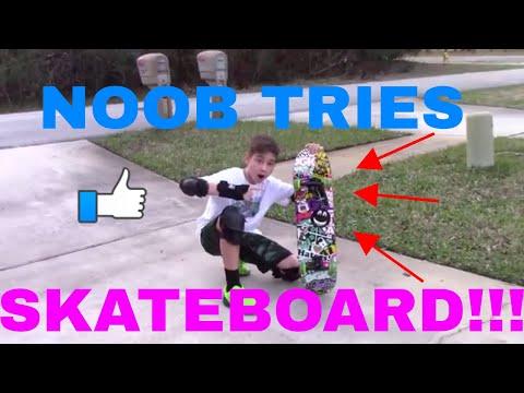 NOOB TRIES SKATEBOARD VLOG!!!