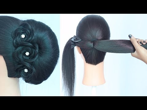 new latest french bun hairstyle | party hairstyles | wedding guest hairstyle | hairstyle for girls thumbnail