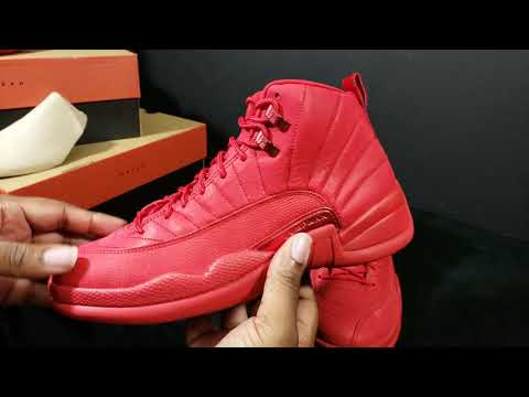 """2018 AIR JORDAN RETRO 12 """"GYM RED"""" FIRST LOOK + DETAIL REVIEW...LEATHER OR SUEDE"""