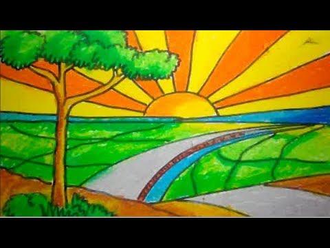 Cara Menggambar Matahari Terbit Di Pedesaan Youtube