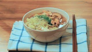 18.심야식당 해넘이국수 토시코시 소바 '닭 버섯 메밀국수' 鶏きのこそば : Soba noodles with chicken and mushroom