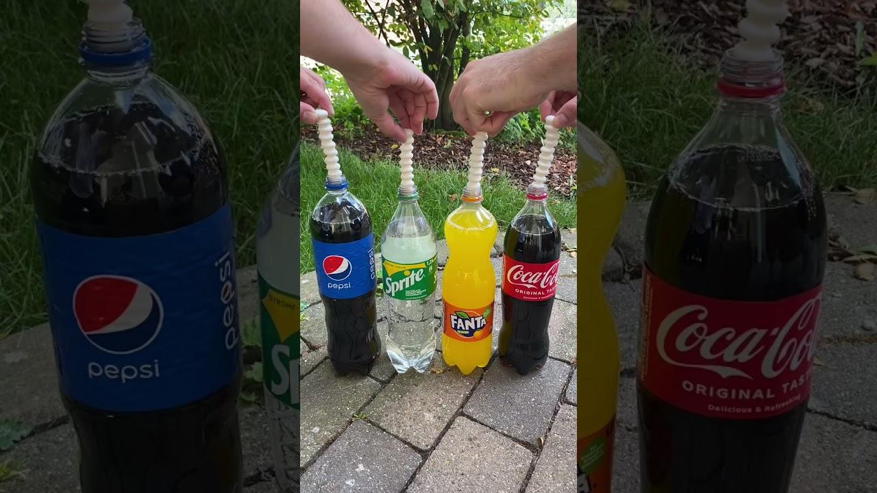 Coca Cola, Fanta, Sprite und Mentos   Experiment #Shorts