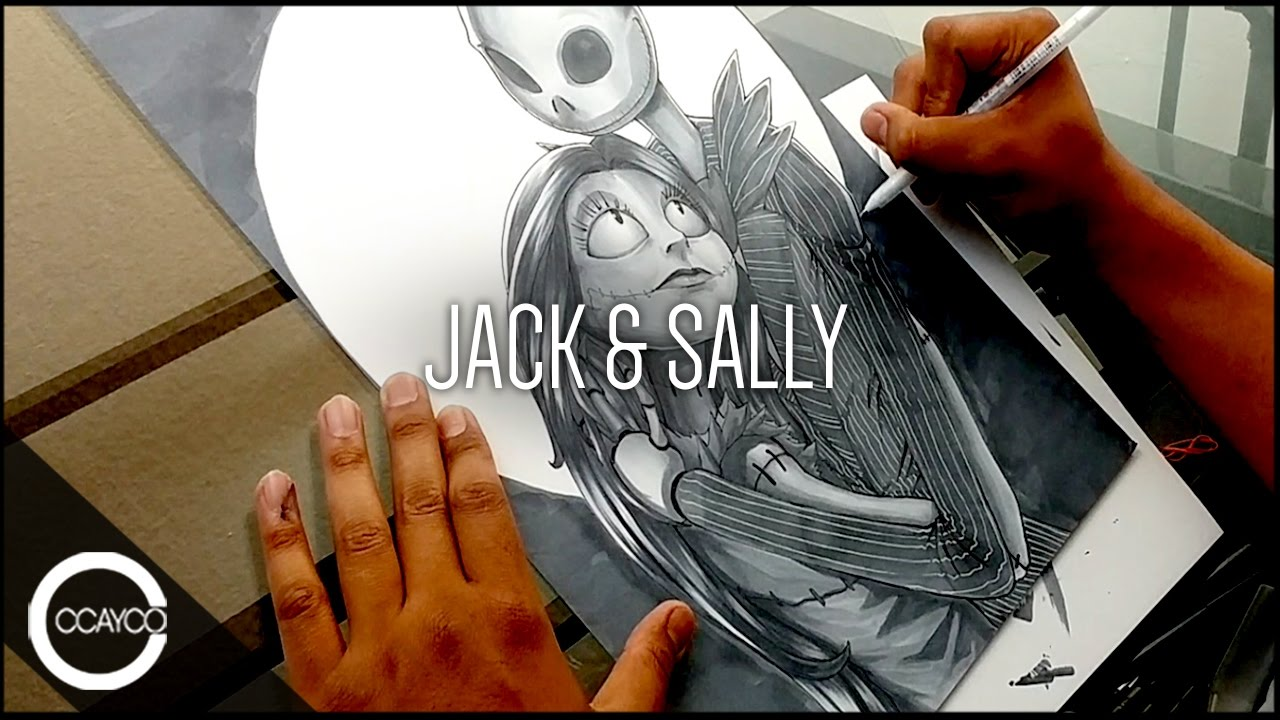 Drawing JACK and SALLY from The Nightmare Before Christmas - YouTube