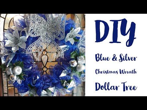 DIY Blue And Silver Christmas Wreath/Dollar Tree