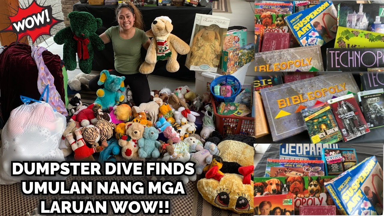 DUMPSTER DIVING MASSIVE JACKPOT FINDS, TONS OF STUFF TOYS, BOXES OF PUZZLES,CLOTHES WOW INSANE FINDS