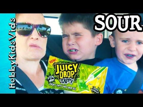 Sour Candy Taste Reaction! Juicy Drop Taffy HobbyFrog + HobbyPig HobbyKidsVids