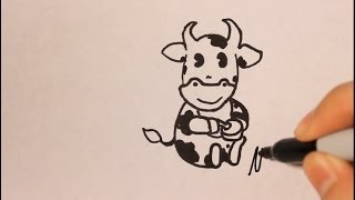 How to Draw a Cow|Cartoon|Step By Step|Easy|Step By Step For Beginners|Face|Head|For Children