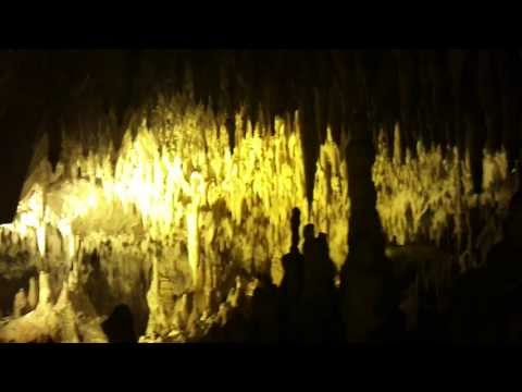 Stalactites and Stalagmites at Cave of the Dragon, Kastoria, Greece.