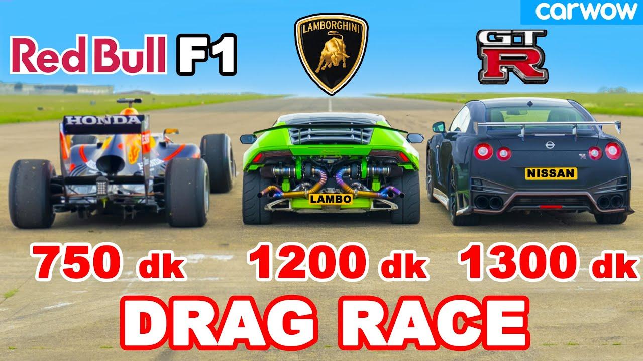 Mobil F1 v Lamborghini 1200 dk v GT-R NISMO 1300 dk: DRAG RACE