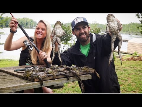 FISHING For BIG BULLFROGS?!?!?! INSANE CATCH, CLEAN, & COOK BBQ FROGLEGS!!! DELICIOUS!!!