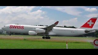 """Swiss Airbus A340-313X HB-JMJ """"Zug"""" mit Rotate und Takeoff (ATC) am Flughafen Zürich Kloten"""