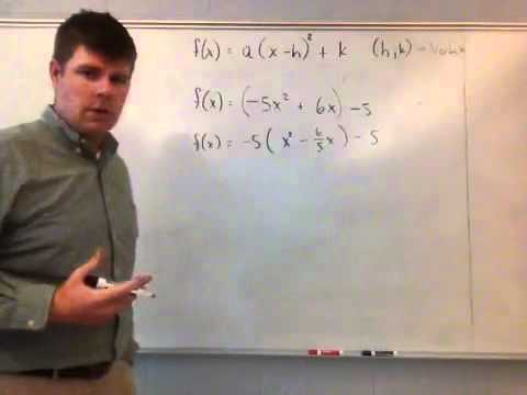 Writing A Quadratic Function In Vertex Form Youtube